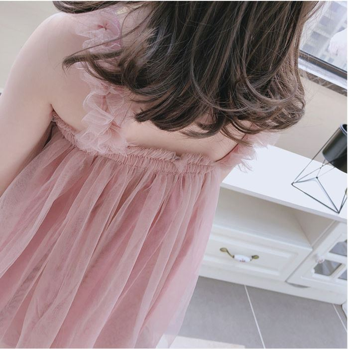 Tulle Ruffled Strap Dress in Pink (In-Stock)