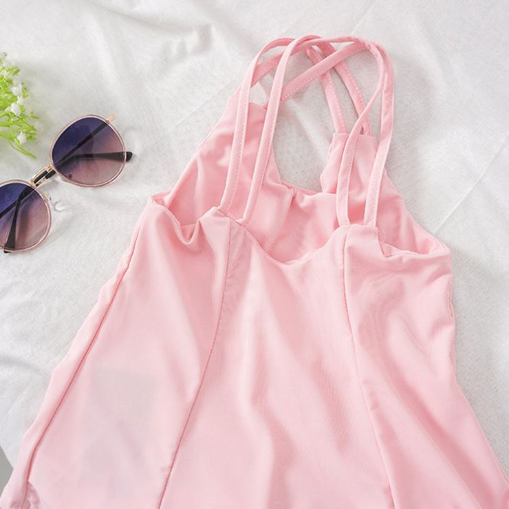 Criss-Cross Pink One-Piece Swimsuit