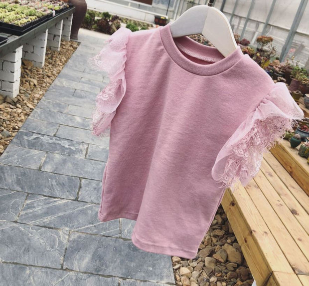 Cotton Lace Top in Pink