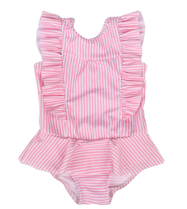 Striped One-Piece Swimsuit in Pink