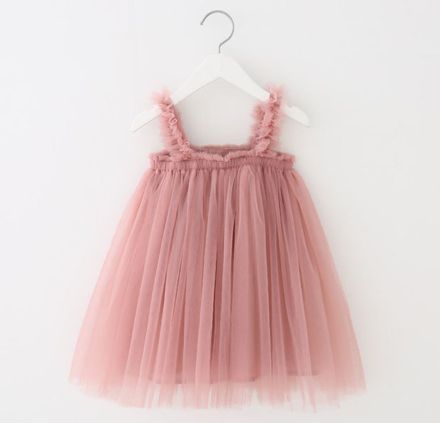 Tulle Ruffled Strap Dress in Pink