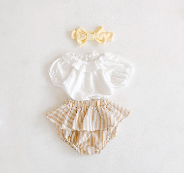 Two-Piece Ruffled Top with Bloomer in Yellow