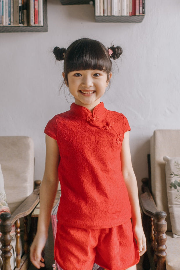 Red Embroidery Tang Suit (In-Stock)