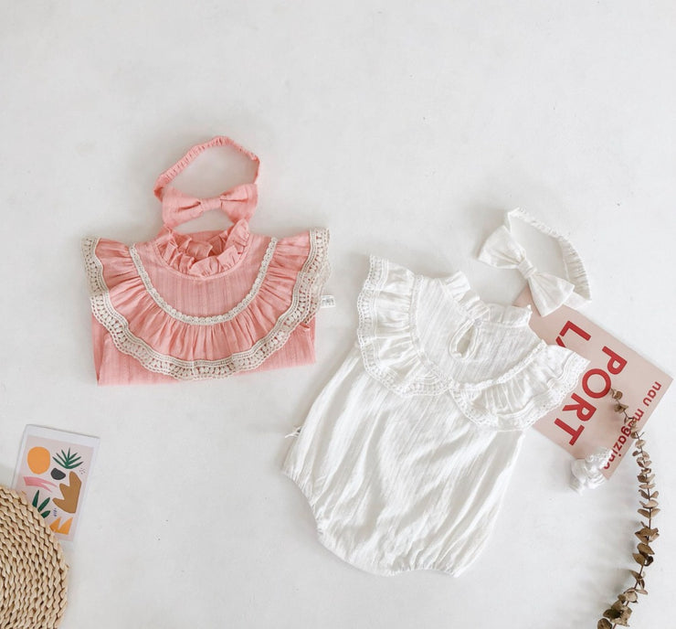 Ruffled Sleeveless Lace Bodysuit in White