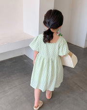 Puff Sleeves Cotton Dress in Green