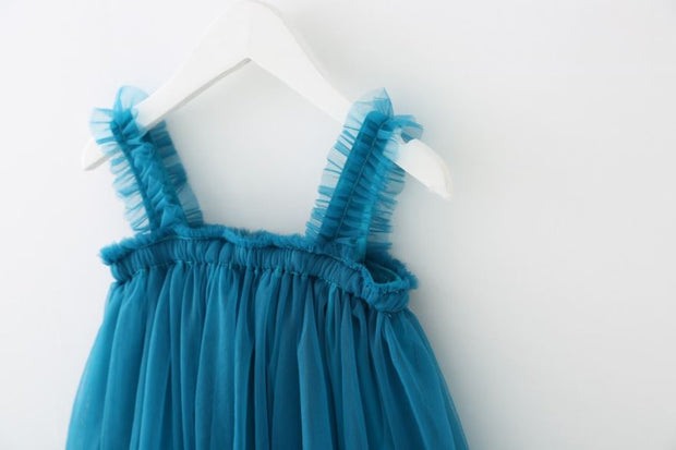 Tulle Ruffled Strap Dress in Deep Blue