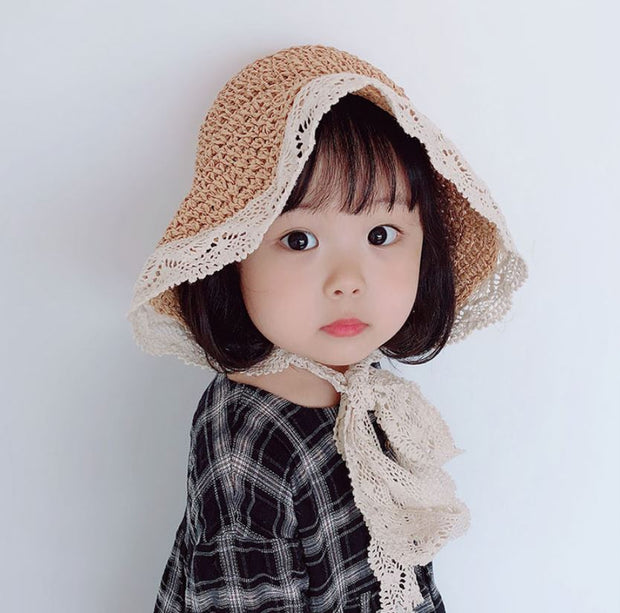 Straw Lace Bucket Hat in Khaki