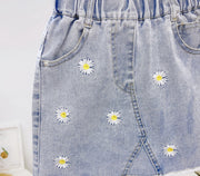 Flower Denim Skirt