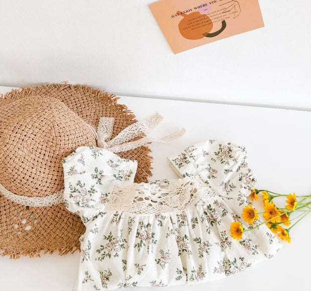 Floral Lace Embroidered Romper with Hat