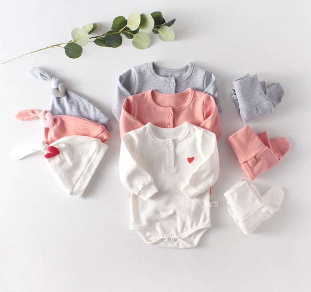 Love Cotton Three-Piece Set in Pink