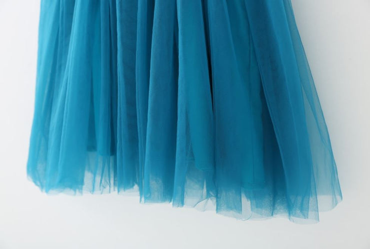 Tulle Ruffled Strap Dress in Deep Blue (In-Stock)