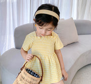 Checkered Ruffled Top in Yellow