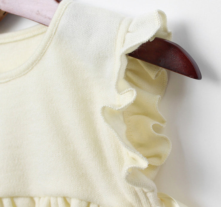 Ruffled Cotton Vest in Yellow