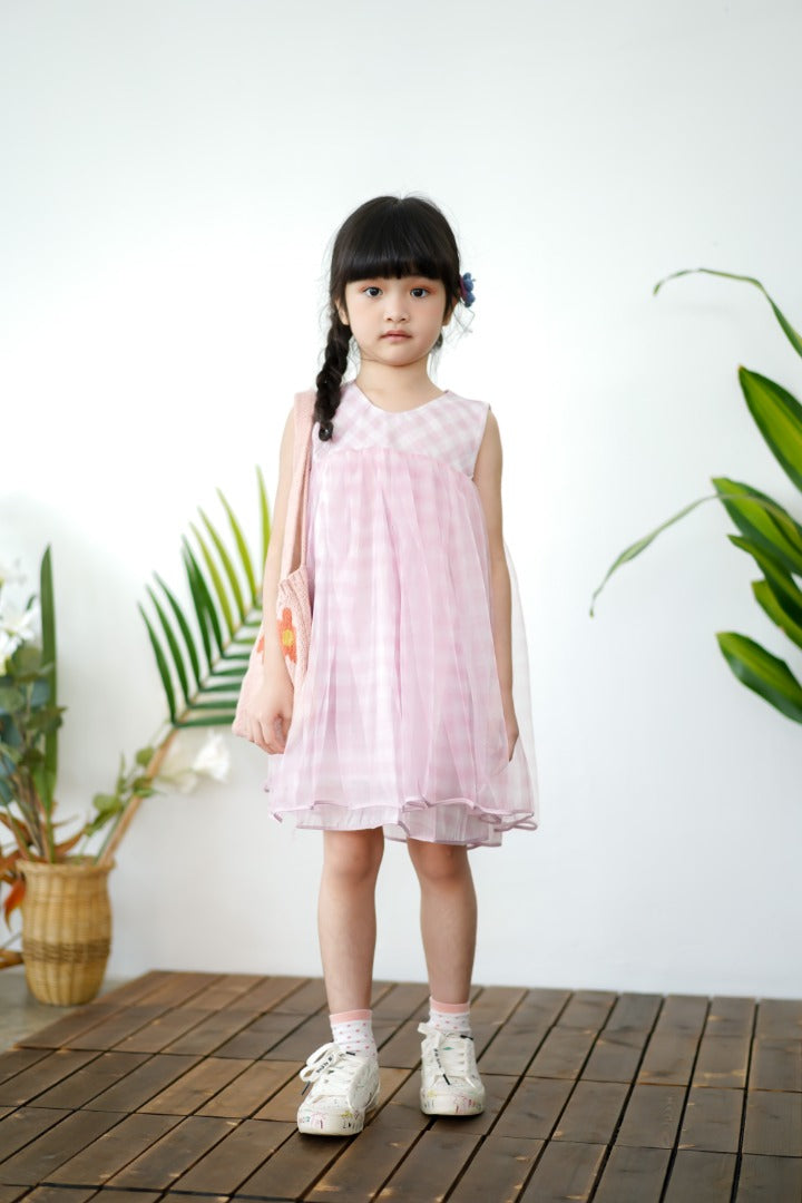 Back Ribbon Checkered Tulle Dress