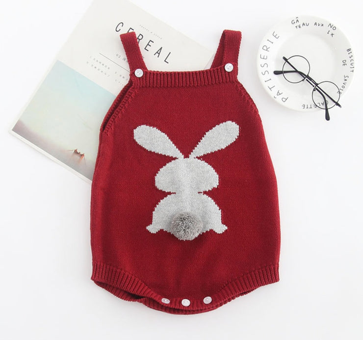 Rabbit Sleeveless Romper in Red (In-Stock)