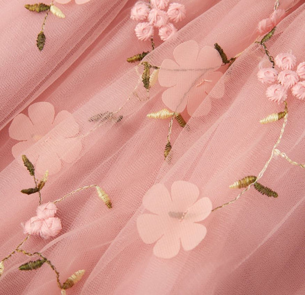 Floral Embroidered Princess Dress in Candy Pink