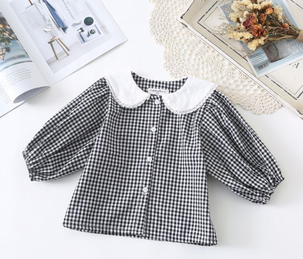 Buttoned Checkered Top