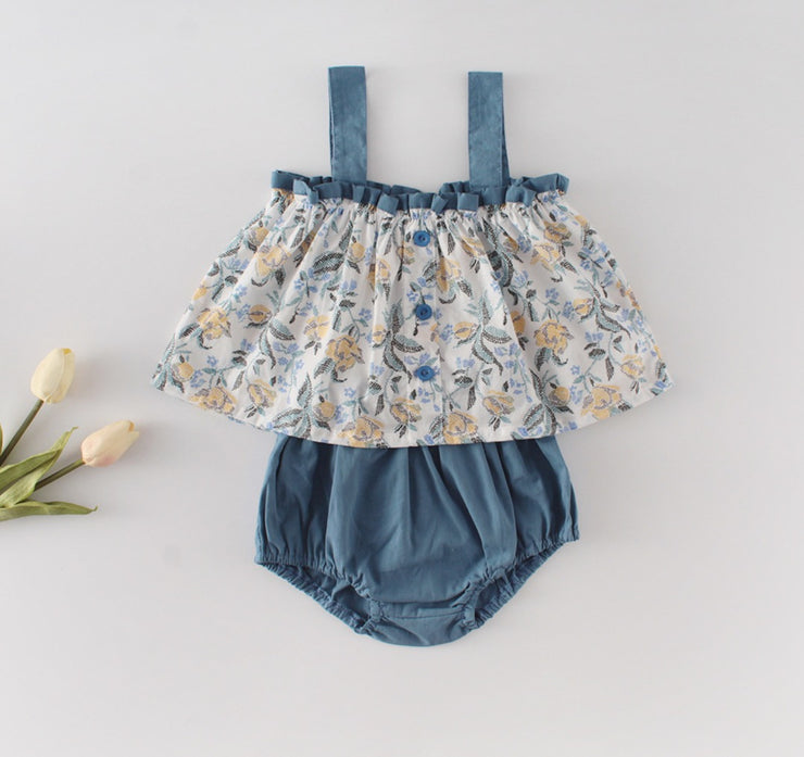 Two-Piece Floral Top with Bloomer