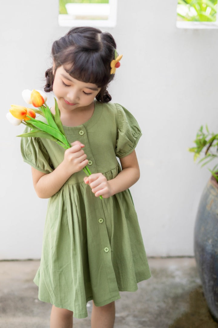 Buttoned Midi Dress in Green (In-Stock)