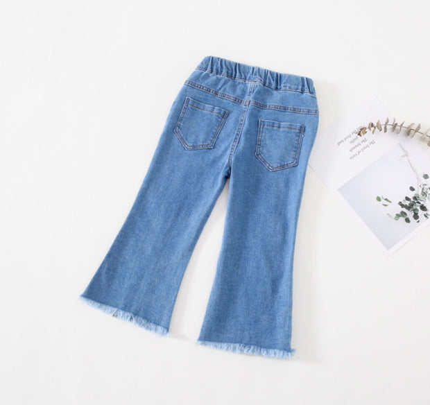 V Cut Long Denim Jeans
