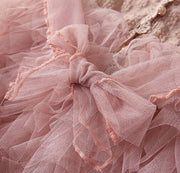Flower Embroidered Tulle Dress in Dusty Pink
