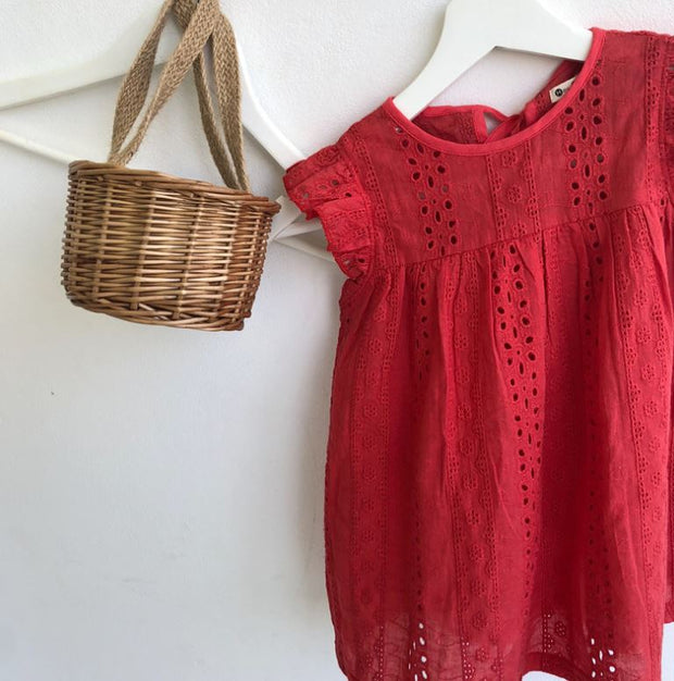 Summer Babydoll Floral Dress in Red