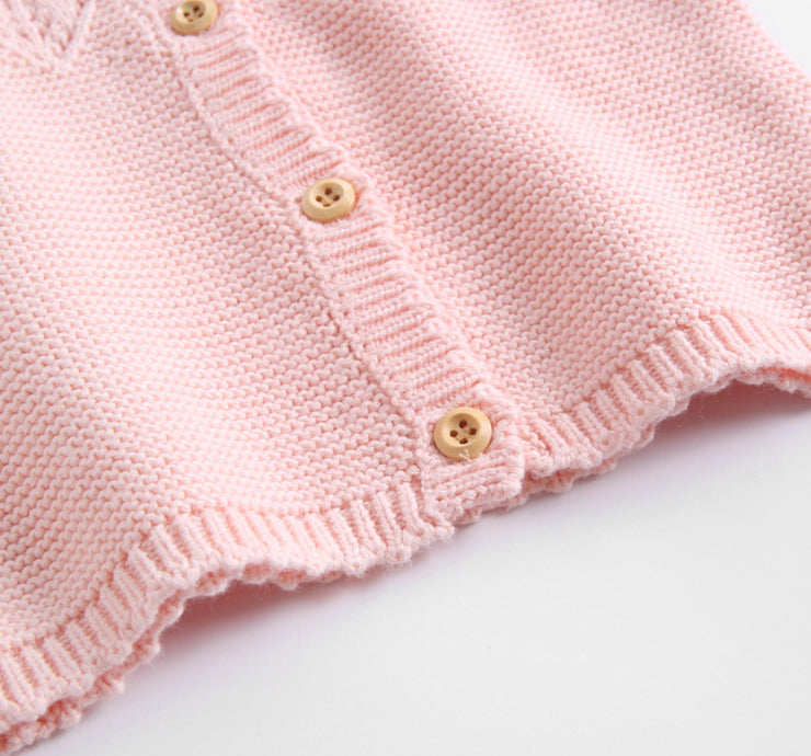 Long Sleeves Buttoned Cardigan in Pink