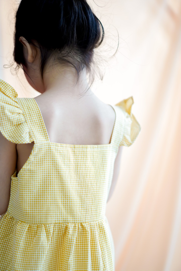 Checkered Ruffled Strap Dress in Yellow