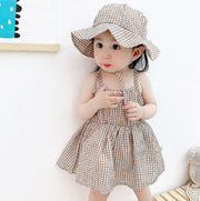 Checkered Dress with Hat