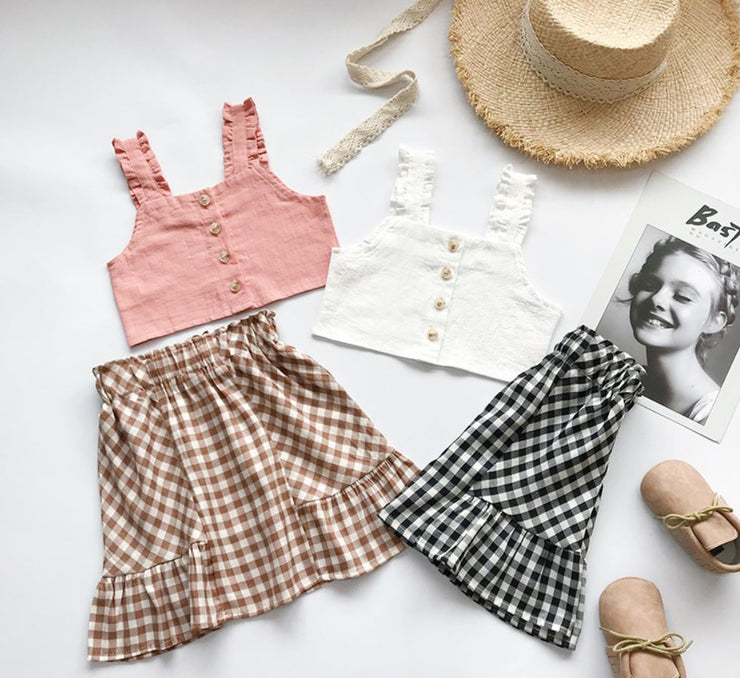 Ruffled Top With Checkered Midi Dress in White
