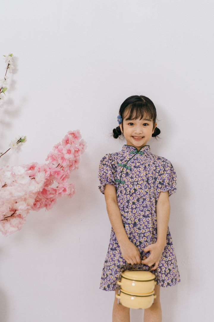Vintage Floral Cheongsam Dress in Purple (In-Stock)