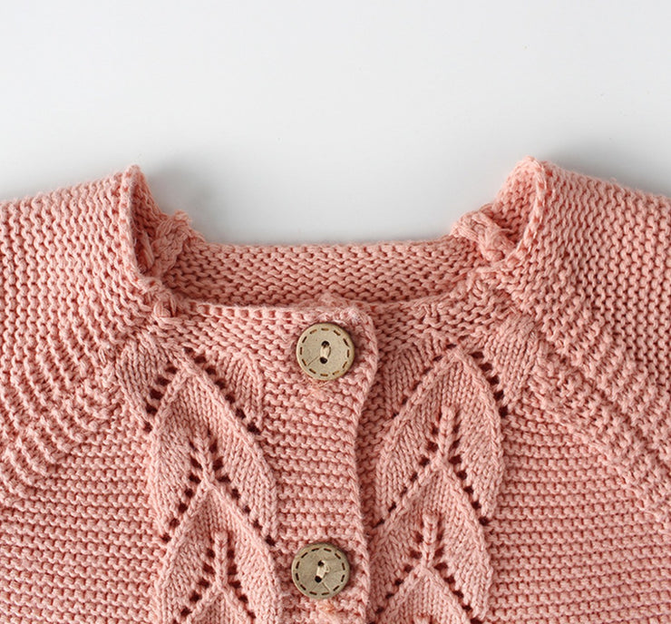 Wool Knitted Cardigan in Pink