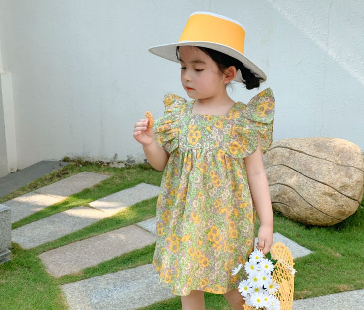 Floral Ruffled Dress in Yellow