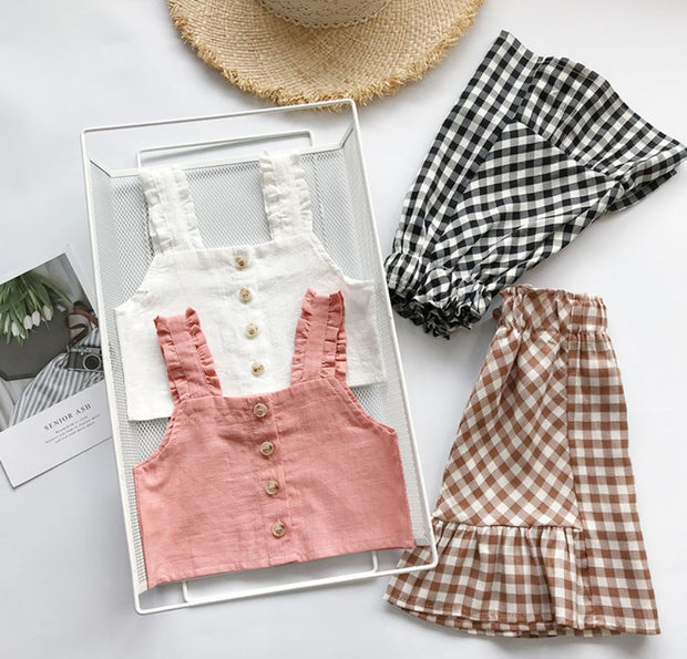 Ruffled Top With Checkered Midi Dress in Rosewood Pink