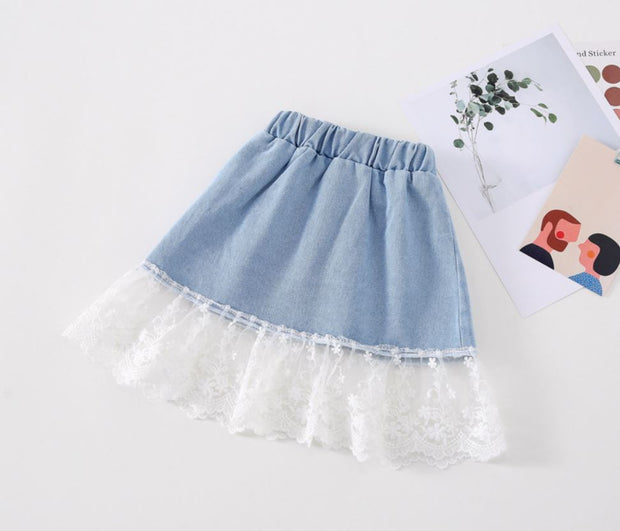 Floral Lace Denim Skirt