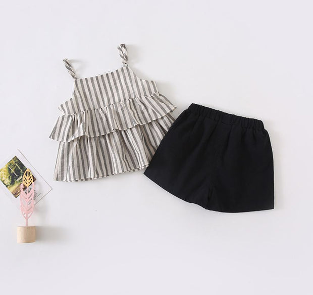 Two-Piece Striped Blouse With Skirt Pants