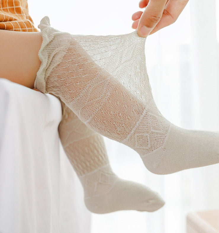 Cotton Lace Long Socks (5 pairs in 1 set)