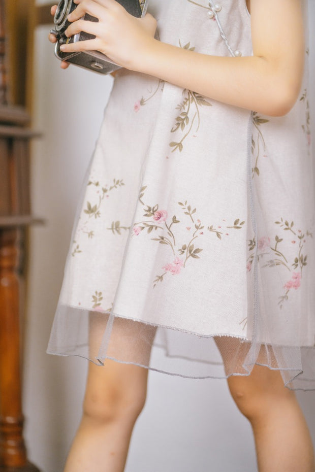 Floral Sleeveless Cheongsam Dress in Beige (In-Stock)