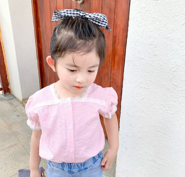 Checkered Lace Blouse in Pink