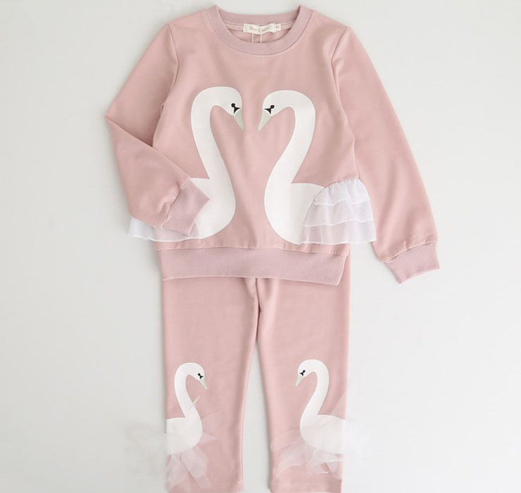 White Swan Sleepwear Set in Pink