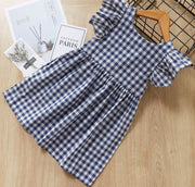 V Shaped Checkered Dress in Blue (In-Stock)