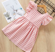 V Shaped Checkered Dress in Pink