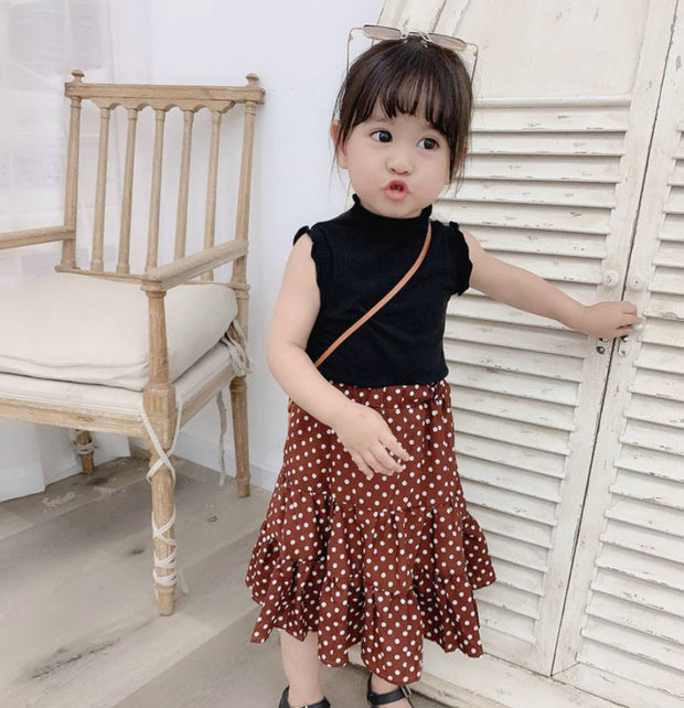 Two-Piece Vest Top With Polka Dot Long Skirt