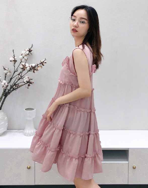 Matching Cupcakes Ruffles Dress in Pink