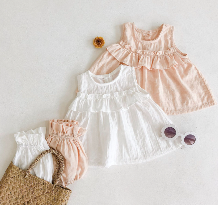 Two-Piece Ruffled Sleeveless Top with Bloomer