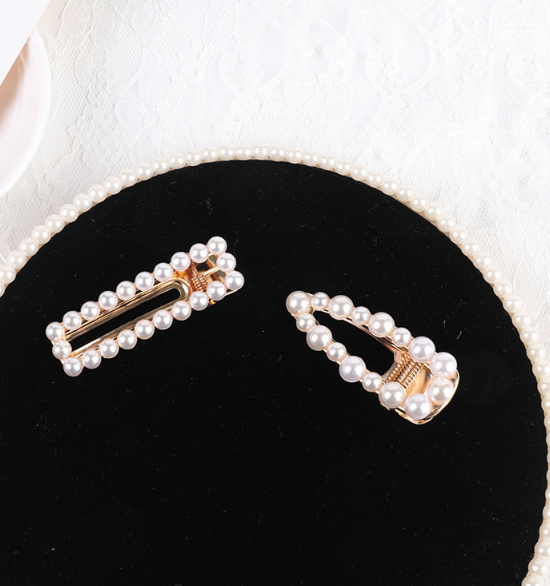Handmade Beaded Pearl Clip Hairpin Set