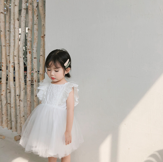 Lace Tulle Princess Dress in Pure White