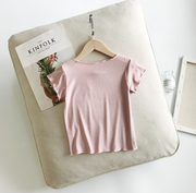 Ultra-Soft Floral Lace T-shirt in Candy Pink
