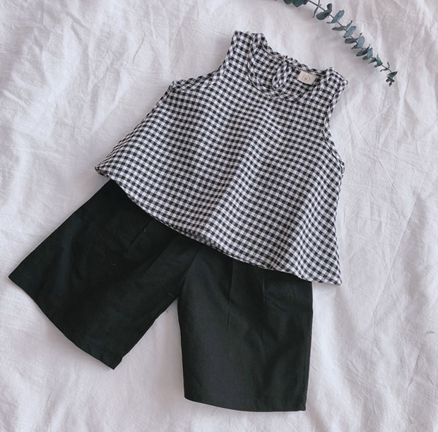 Two-Piece Black Checkered Singlet with Shorts