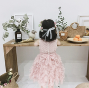 Flower Embroidered Tulle Dress in Dusty Pink (In-Stock)